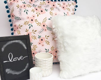 Floral and Pom-Pom Throw Pillow , Floral Pillow, Pink Floral Pillow Cover, Pillow Cover