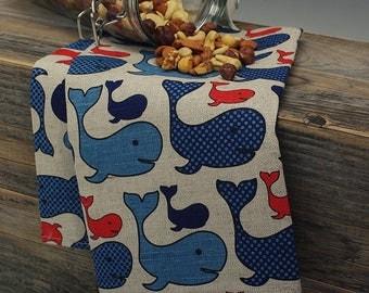 Linen Tea Towels / Set of 2 Kitchen Linen Tea Towels Whales