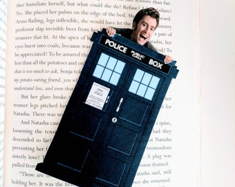 TARDIS Doctor Who Bookmark David Tennant Tenth Doctor 10 Hangs Over Page