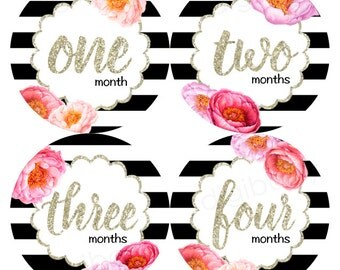 Floral Baby Month Stickers, Milestone Stickers, Baby Shower Gift, Black and White Flowers, baby girls sticker - Instant Download