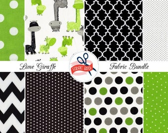 GRAY & LIME GIRAFFE Fabric Bundle Yard, Fat Quarter Bundle 8 Fabrics Chevron Fabric Dot Fabric 100% Cotton Fabric Quilting Apparel Fabric