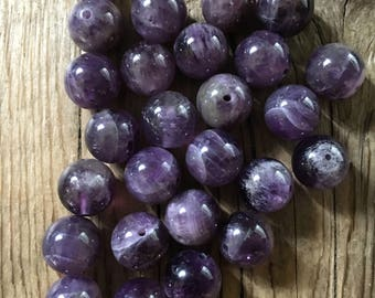 Amethyst Round Gemstone Beads - Grade A - Center Drilled - Polished Purple Amethyst - Size 10mm - 10 Beads per order