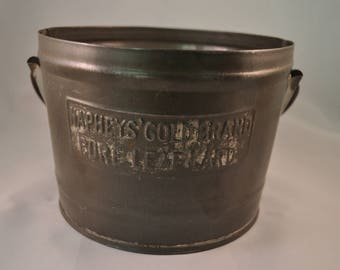 1880's Antique Lard Bucket. Naphey's Gold Brand Pure Leaf Lard Old Tin Pail. George C. Naphey & Sons, Philadelphia. Rustic Americana!