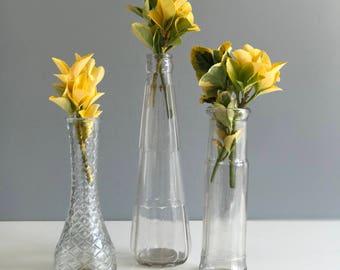 Set of three Antique Glass Bottle Bud Vases / Trio of Bud Vases / Vintage Bottles