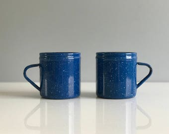Blue Speckled Enamel Mugs / Camping Cups / Enamel Coffee Mugs