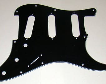 Replacement SSS 3 Ply Laminated Pickguard For Fender® Stratocaster® - Black/White/Black