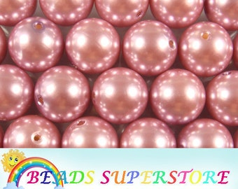 50% OFF 20 mm Dusty Rose Pearl Bubblegum Round Bead - Gumball Bead - Acrylic Chunky Bead - 10 pcs (CHP22)
