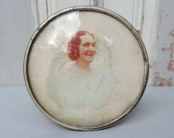 Antique French Woman Photo In Frame/Antique Framed Woman Photo/Framed French Woman Photo/Antique French Lady Photo Signed in Frame