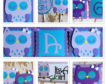 Owl Baby Shower Decorations. Colors can be customized.