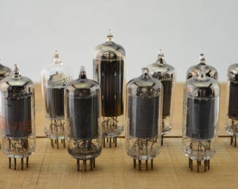 10 Vintage Vacuum Tubes - Electronic Parts Radio Tubes TV Tubes Amplifier Tubes Industrial Parts Collage Steampunk Art Supply E10-1