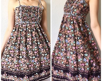 Adorable Boho 1970's True Vintage Dark Floral Print Strappy Sundress Small
