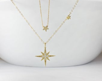CZ North Star Necklace, Gold North Star Jewelry,Layered, layering star necklace, Polaris Necklace, North Star Necklace, Women Necklace,