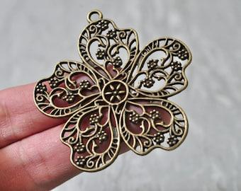 5pcs Antique Bronze Large Hollow Flower Charm Pendant Five Leaf 53x56mm N507