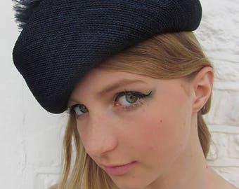 vintage blue feather pom pom hat