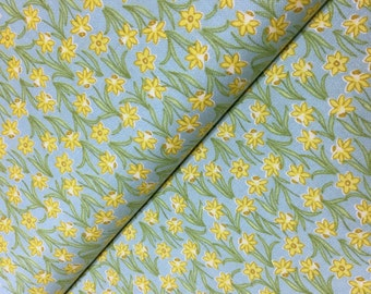 Lewis & Irene Patchwork Quilting Fabric Flo's Little Flowers FLO3.3 Daffodils on Duck Egg
