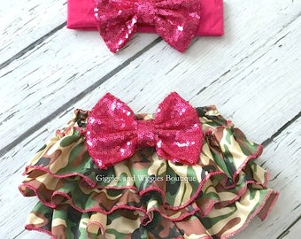 Camo baby outfit, green and hot pink diaper cover, baby girl headband, infant baby bloomer, camo diaper cover, infant head wraps
