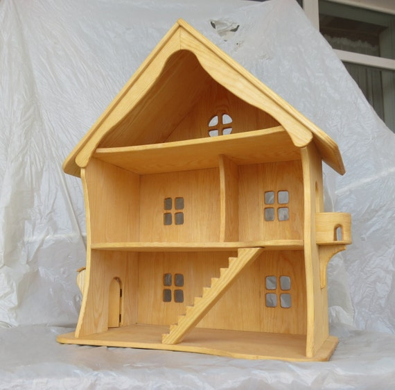Handmade Wooden Dollhouse / Natural Wooden Dollhouse Waldorf