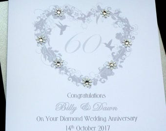 Diamond / 60th Wedding Anniversary personalised card