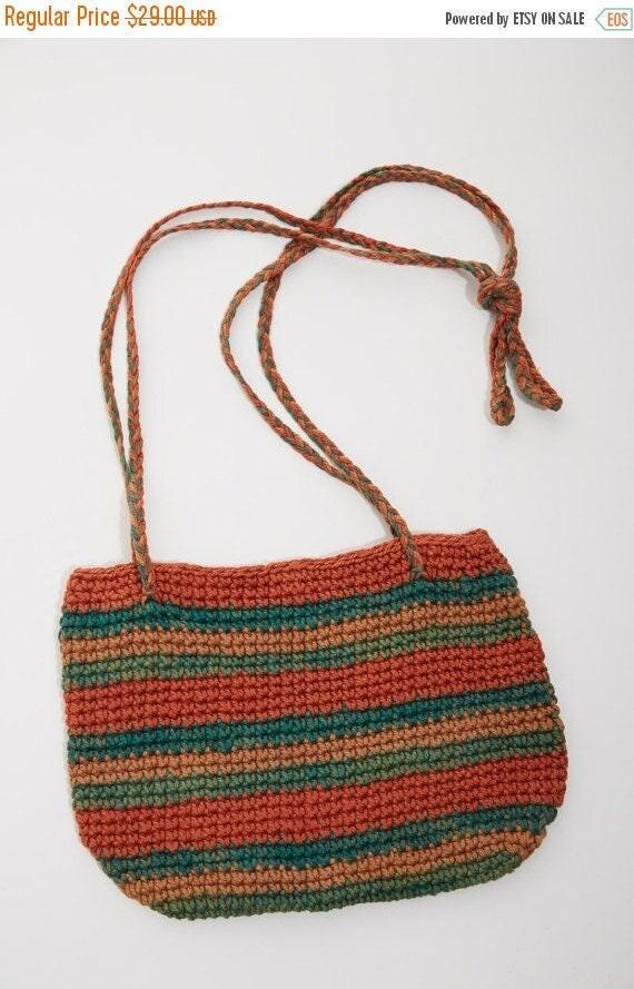 Vtg 70s 80s Ethnic WOVEN Braided Shoulder BAG Purse Hippie Boho Festival Tribal Neutral Resort Beach Handbag Grunge Striped Minimalist