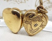 Vintage  Engraved Leaves Gold Love Heart Diamond Chip Photo Locket Necklace