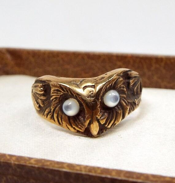 SALE! Vintage / Unusual Gold Gilt Moulded Engraved Owl Head Statement Ring / Size N