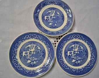 Vintage Royal China Willow Ware Bread Plate Saucer 3 pieces Blue and White Asian Design USA PanchosPorch