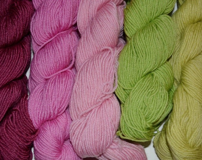 Sock Weight Yarn Lot Destash Green Pink Acrylic 9 oz Crochet Knitting Crafts Supplies DIY PanchosPorch