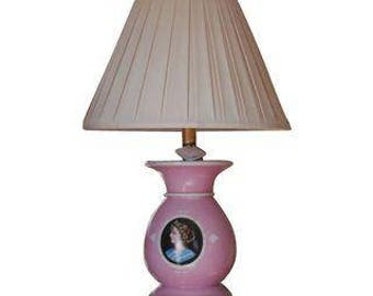 Antique Old Paris Porcelain Pink Portrait Lamp