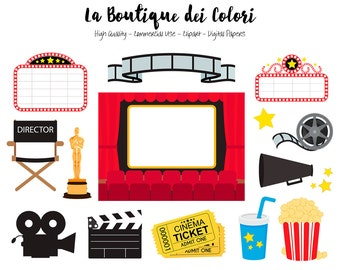 Movie Theater Clip art, Cute Vector graphics - PNG, Film, Camera, Popcorn, Film Director, The Oscars Awards Cinema Clip art. Commercial Use