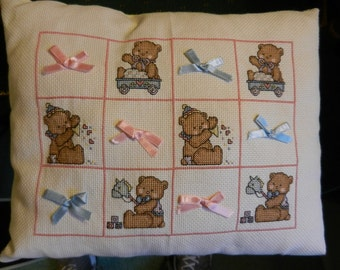 Baby Teddy Cross Stitch Pillow