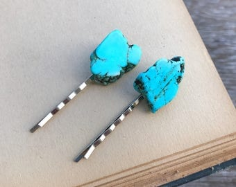 Turquoise Stone Bobby Pins, Set of 2, Turquoise Nuggets, Hair Accessories, Boho, Chakra, Bohemian, Gypsy, Gift, Nature, Hair Jewelry, Earthy