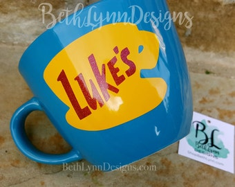 Glitter | Blue ORIGINAL Luke's Diner Mug | Big Mug | Lukes mug | Lukes Diner | Gilmore Girls | Inspired | Mug | VINYL decal logo BOTH sides