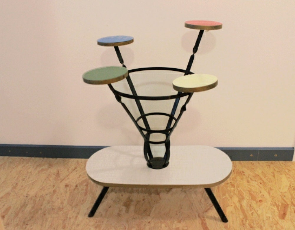 vintage 50s mid century plant stand wrought iron colorful. Black Bedroom Furniture Sets. Home Design Ideas