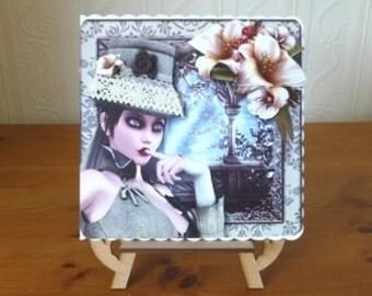 Steampunk  Lady In A Hat Birthday Card