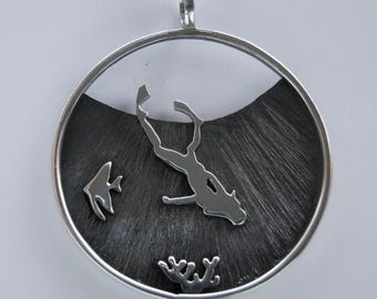 Swimwear, diving. Silver pendant. Marine jewels. Custom Jewelry