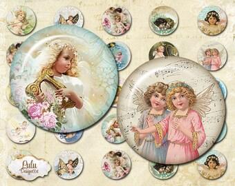 Angel digital collage sheet, 1 inch circle images, vintage angels, Valentine's Day, printable images, angels digital downloads, bottlecap