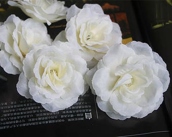 "Free shipping(100 pcs/lot)8cm/3.15"" Artificial Silk Camellia Fabric Rose Peony Flower Heads Wedding Christams Decoration DIY Flower"