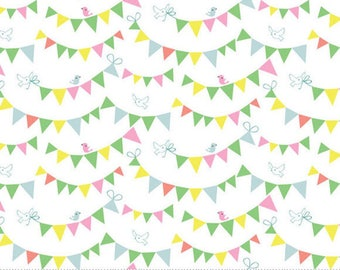 HIP HOORAY - Bunting Day in White - Party Pennant Flags Cotton Quilt Fabric - by Lizzie Mackay for Blend Fabrics - 121.101.03.1 (W3786)