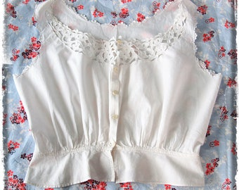 Victorian/Edwardian hand embroidered white cotton camisole/chemise size small