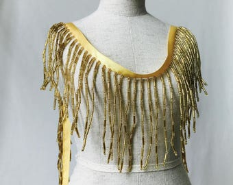 Gold Beaded Fringe Trim with Tassels for Latin Dance Dress, Costumes, Jewelry Supply