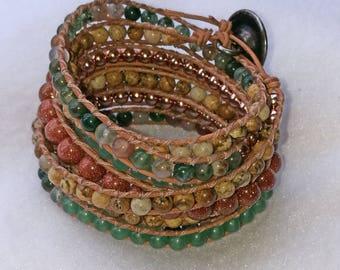 Quirky, Boho, Chan Luu style leather wrap bracelet/cuff.  Rose-gold and semi-precious gemstones.jasper, aventurine, goldstone,Indian Agate
