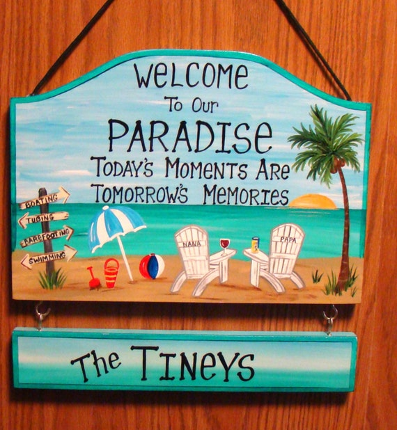Welcome To Our Beach House Sign: Custom Welcome To Our Paradise Beach Sign Backyard Home Yard