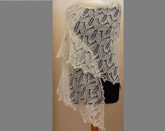 Hand knitted triangular lace wool shawl Bride shawl