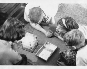 Vintage Photo..Playing Space Checkers, 1960's Original Found Photo, Vernacular Photography