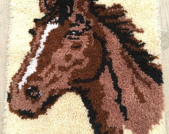 Vintage Crochet Horse Wall Hanging