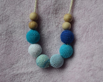 Crochet Nursing Necklace/Breastfeeding Necklace / Teething necklace with crochet beads blue white  beads/ nursing necklace/ handmade beads