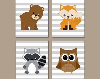 Nursery Printables Woodland Nursery Decor, Woodland Animals, Woodland Creatures, Forest Animals, Boy Nursery Prints Or Canvas Set of 4