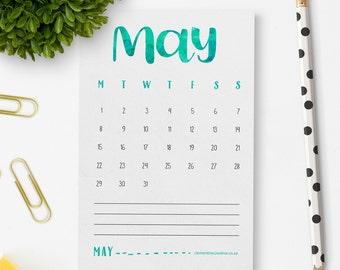 Printable 2017 Desk Calendar - Hand Lettered | Instant Download