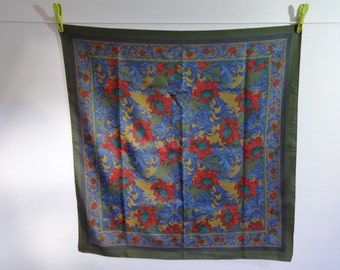 "Vintage Retro Scarf Green & Blue Red Floral 75cm x 77cm / 29.5"" x 30.3"""