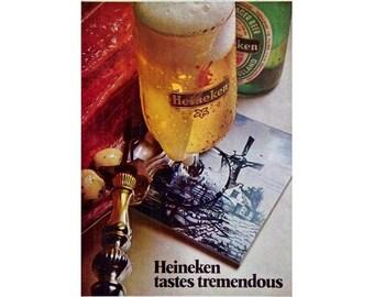 Vintage 1970 newspaper ad for Heineken beer - 207